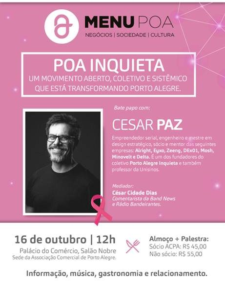 a6733e412 Cesar Paz é o palestrante do próximo Menu Porto Alegre