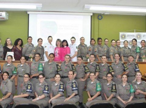 Mulheres da Brigada Militar participam de palestra sobre prevenção ao câncer de mama