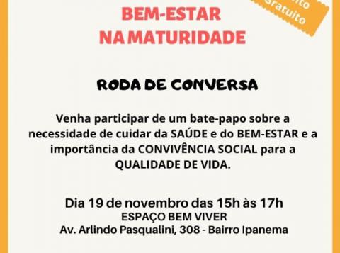 Angélica Paiva promove na terça-feira (19) a Roda de Conversa Bem-Estar na Maturidade