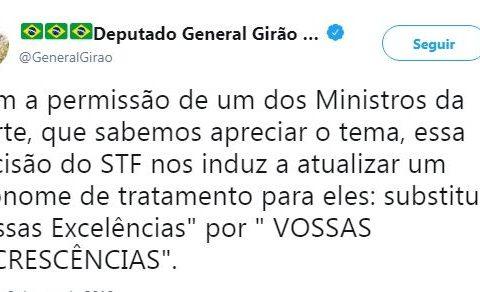 """General ataca ministros do Supremo chamando-os de """"Vossas Excrescências"""""""