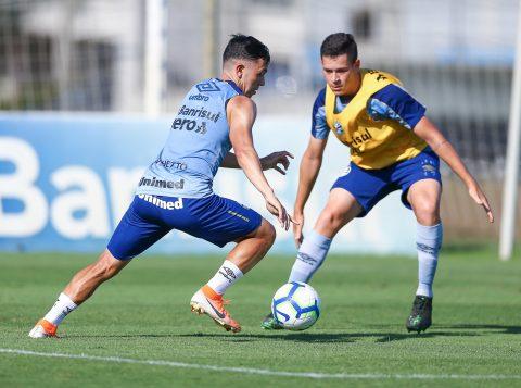 O Grêmio realizou treino visando o duelo diante do Palmeiras